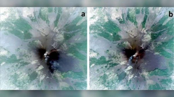 Спутники Pléiades сделали эти изображения горы Этна 13 июля (A) и 25 июля (B)