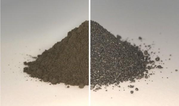 Лунная пыль до (слева) и после (справа) извлечения кислорода