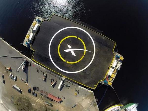 Место, куда приземлится ступень ракеты