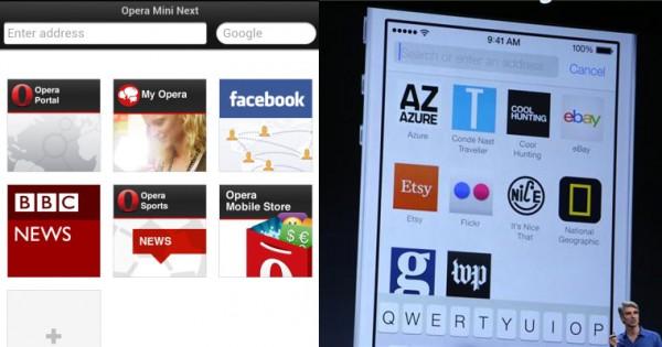 Сходство панели избранного Opera Mini и Safari