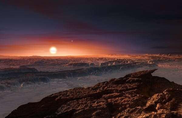 Изображение художником планеты, вращающейся вокруг Проксимы Центавра