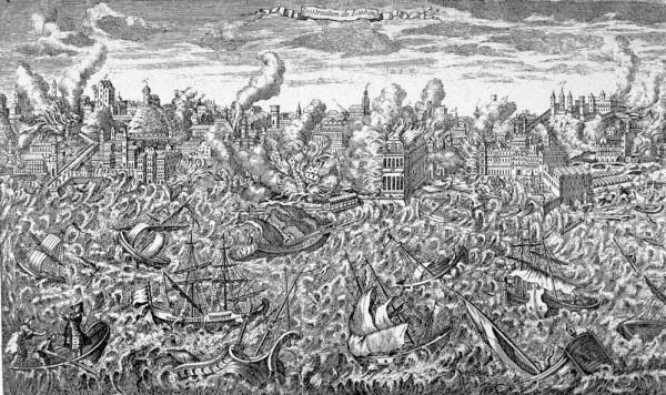 Гравюра Великое Лиссабонское землетрясение
