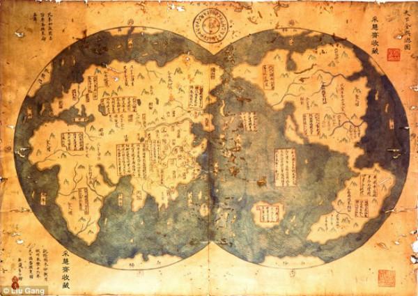 Китайская карта мира, якобы сделанная в XV веке