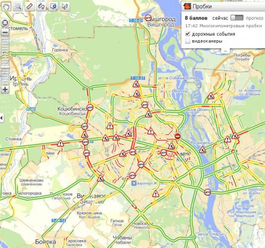 Пробки в Киеве вечером 26 марта достигли 8 баллов