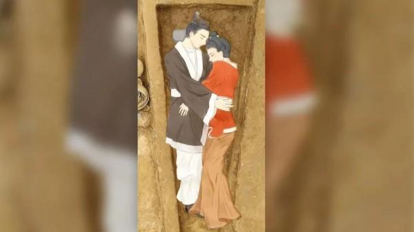 Иллюстрация влюбленных, наложенная на фото места захоронения