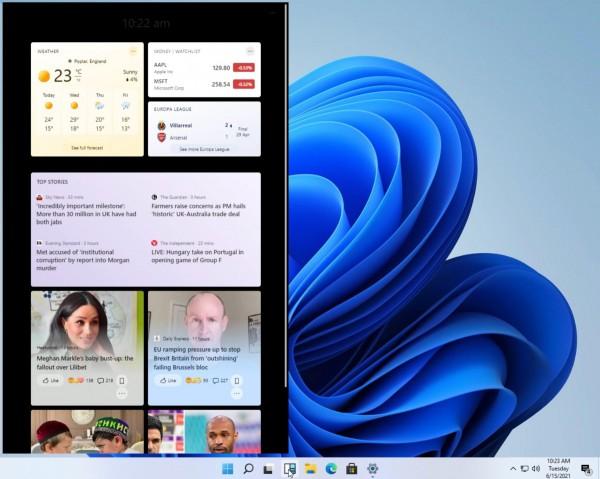 Ранняя версия виджетов Windows в Windows 11