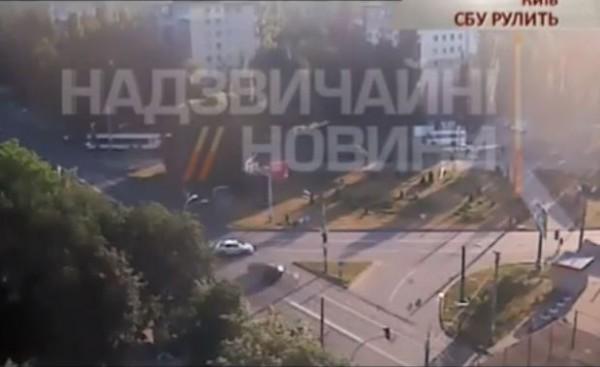 Кадр видео ДТП, в котором погиб СБУшник
