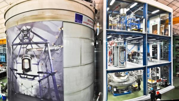 Помещение XENON1T, слева - резервуар для воды, содержащий сам инструмент, с плакатом, показывающим, что внутри, справа - трехэтажное служебное здание