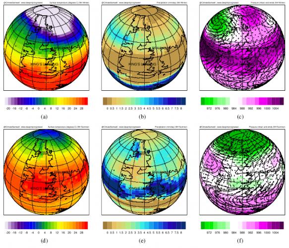Карты температур и движения ветров