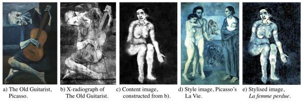 (a) «Старый гитарист», (b) Рентгенография полотна, (c) Обработанное и реконструированное изображение второго слоя, (d) Образец «синего периода» Пикассо, (e) Стилизованная картина — результат работы нейросети