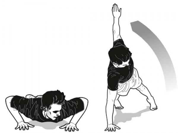 В положении с вытянутыми руками задерживайся на 1-3 секунды
