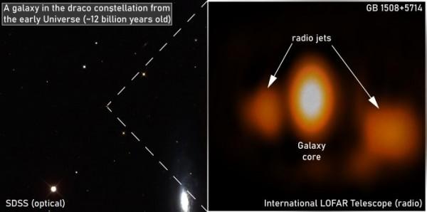 Галактика в видимом спектре и в радиоизлучении