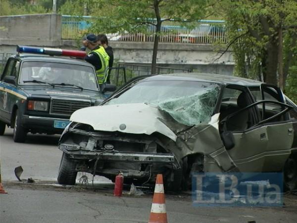 Автомобиль вспыхнул после аварии