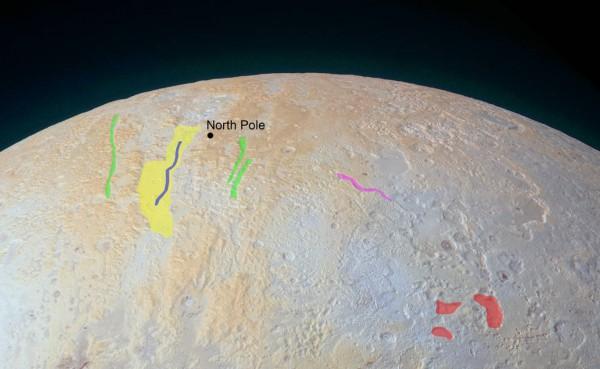 Каньоны на полюсе Плутона