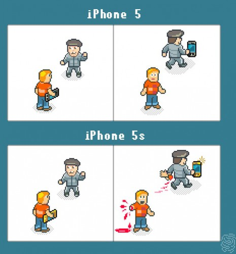 iPhone 5S демотиватор: высмеивание наличия сканера отпечатков пальцев