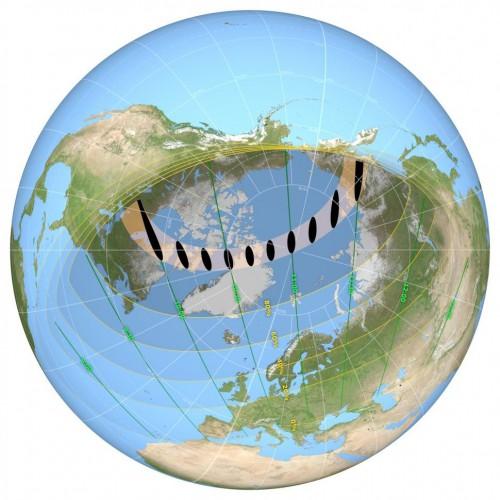 Карта затмения в Северном полушарии