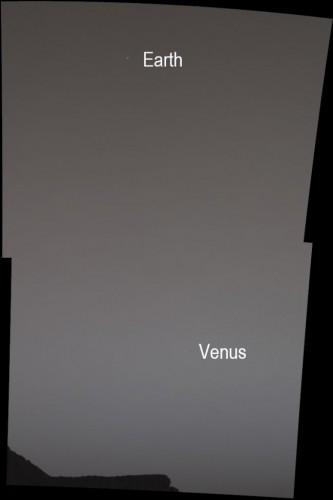 Земля и Венера в комбинированном снимке