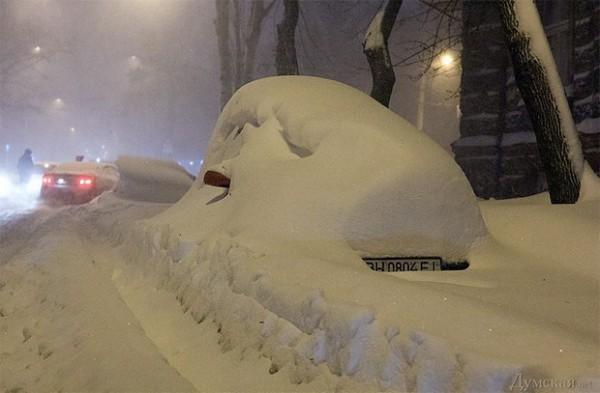 Во время снегопада в Одессе