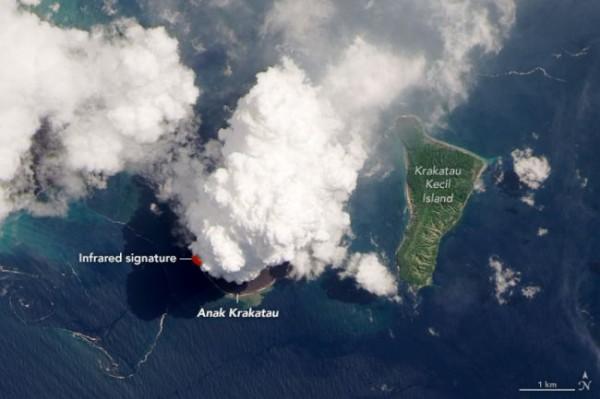 Извержение Анак Кракатау. Красная точка - расплавленная порода