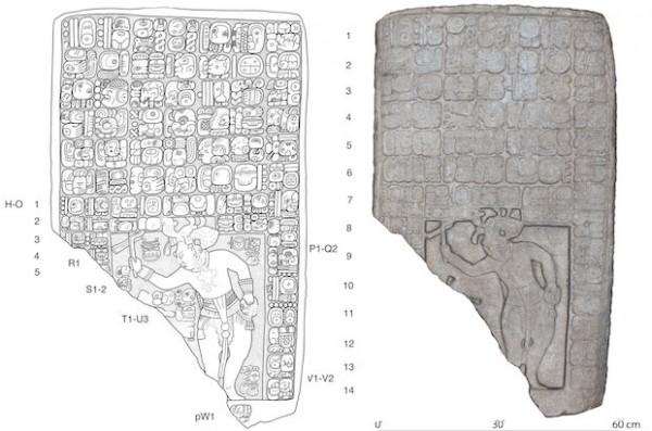 Слева - чертеж таблички, найденной на месте раскопок. Справа - цифровая 3D-модель