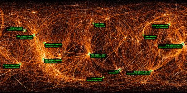Рентгеновские данные, записанные инструментом NICER с борта Международной космической станции во время ночных оборотов вокруг Земли при перемещении объектива между целями в течение 22 месяцев.