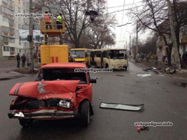 Место аварии в Черкассах