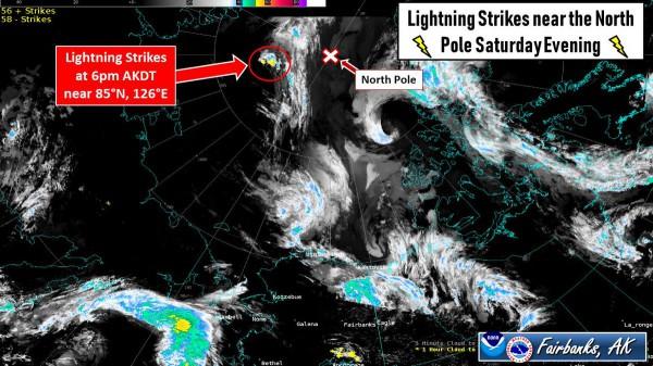 По сообщению NWS, вечером 10 августа сразу несколько молний ударило около 85° с.ш. и 126° в.д.