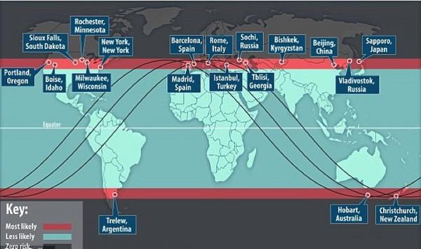 Карта возможного падения спутника