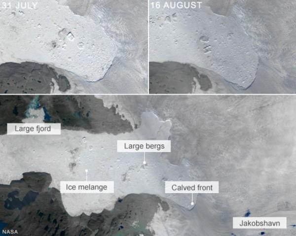От ледника Якобсхавн откололся айсберг