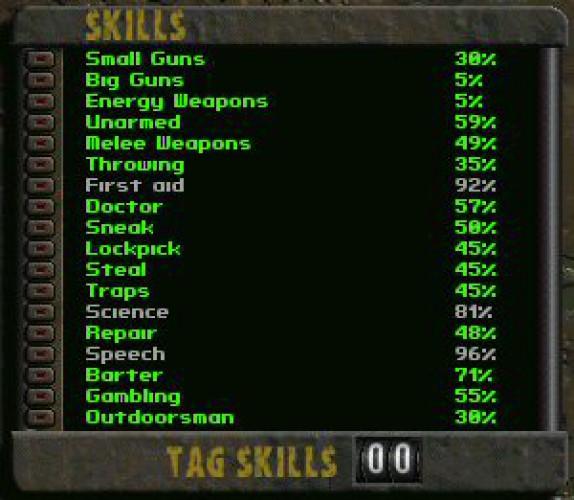 Интерфейс навыков Fallout 2