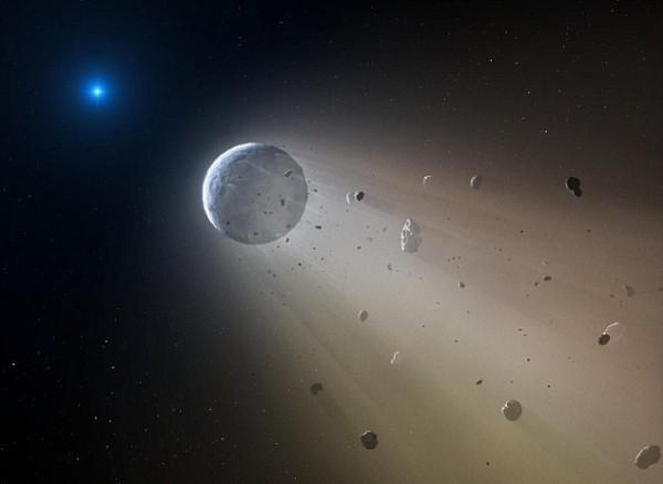 Предполагаемый вид системы с разрушающимися планетами