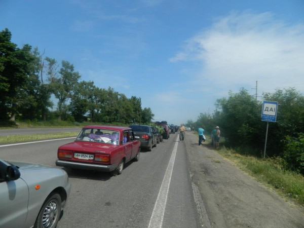 Очередь в сторону Донецка
