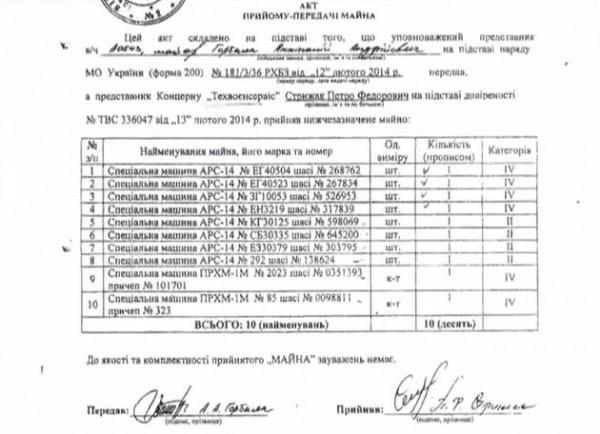 Документы о продаже списанной техники ВСУ