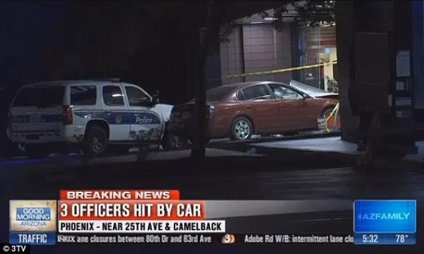 В США сумасшедший водитель едва не убил трех полицейских