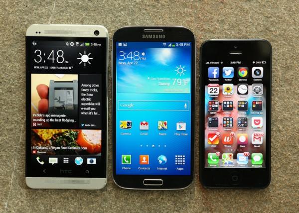 HTC One, Samsung Galaxy S4 и iPhone 5