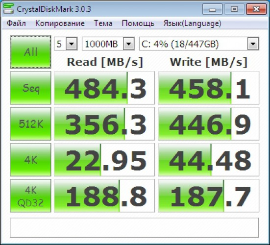 Seagate 600 480 GB - CrystalDisk Mark