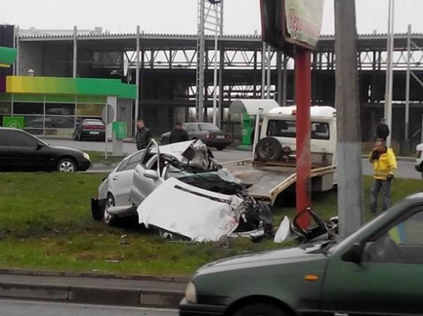 Место аварии во Львове