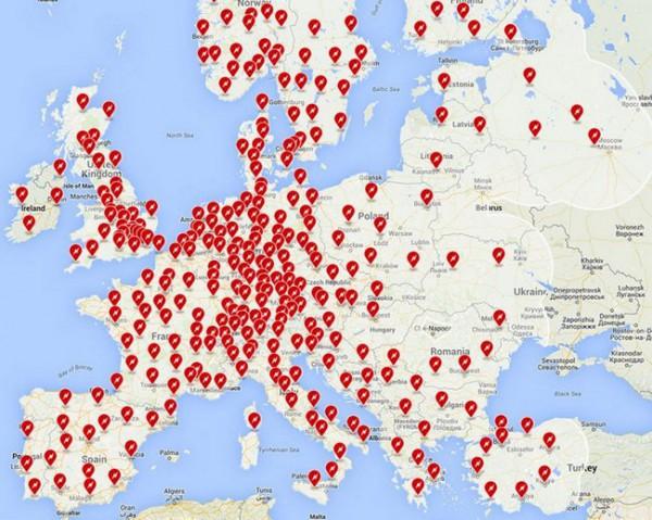 Карта заправок в Европе