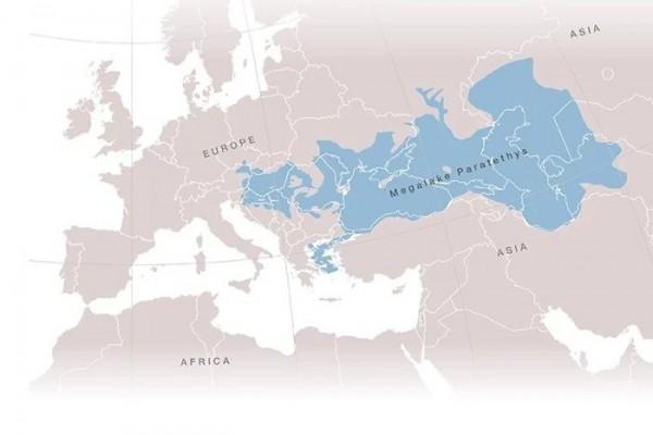 Карта расположения древнего мегаозера Паратетис