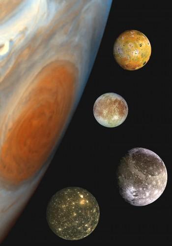 Сравнение Галилеевых спутников с Юпитером. Сверху вниз: Ио, Европа, Ганимед и Каллисто