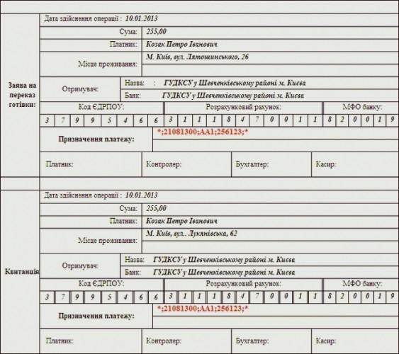 Пример заполнения квитанции об оплате штрафа