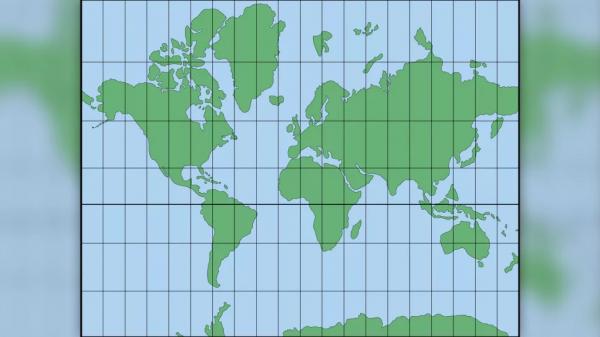 Проекция Меркатора, созданная в 1569 году голландским географом Герардом Меркатором, помогла парусникам ориентироваться в мире. Обратите внимание, что полярные регионы искажены, и что Япония и Гавайи выглядят дальше друг от друга, чем они есть на самом деле