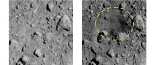 Поверхность астероида до и после взрыва бомбы