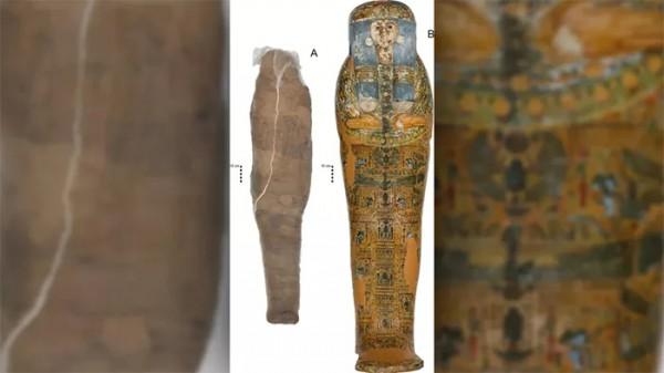 Украшенный гроб (справа) не принадлежит к необычной обернутой грязью мумии (слева)
