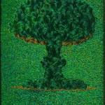 Атомный гриб, 2012 г. Из серии: Дань Бельгийскому Конго. Материал: надкрылья австралийского жука-древоточца на деревянной основе. 227,5 x 173 x 8,1 cм.
