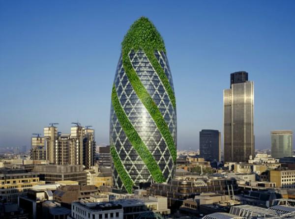 Знаменитый огурец Gherkin Tower, что в Лондоне, скоро станет эко-небоскребом
