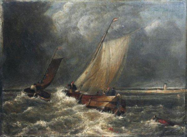 Найдена ранее неизвестная картина Уильяма Тернера Рыбацкие лодки в сильный ветер