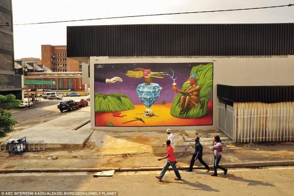 Мурал Interesni Kazki на улице Йоханнесбурга.