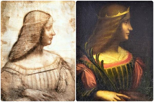 Эскиз портрета Изабеллы из Лувра и работа маслом, изъятая из банка.
