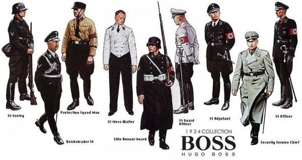 Во время Второй Мировой компания Hugo Boss шила мундиры для SS, SA, Гитлерюгенда и Вермахта.